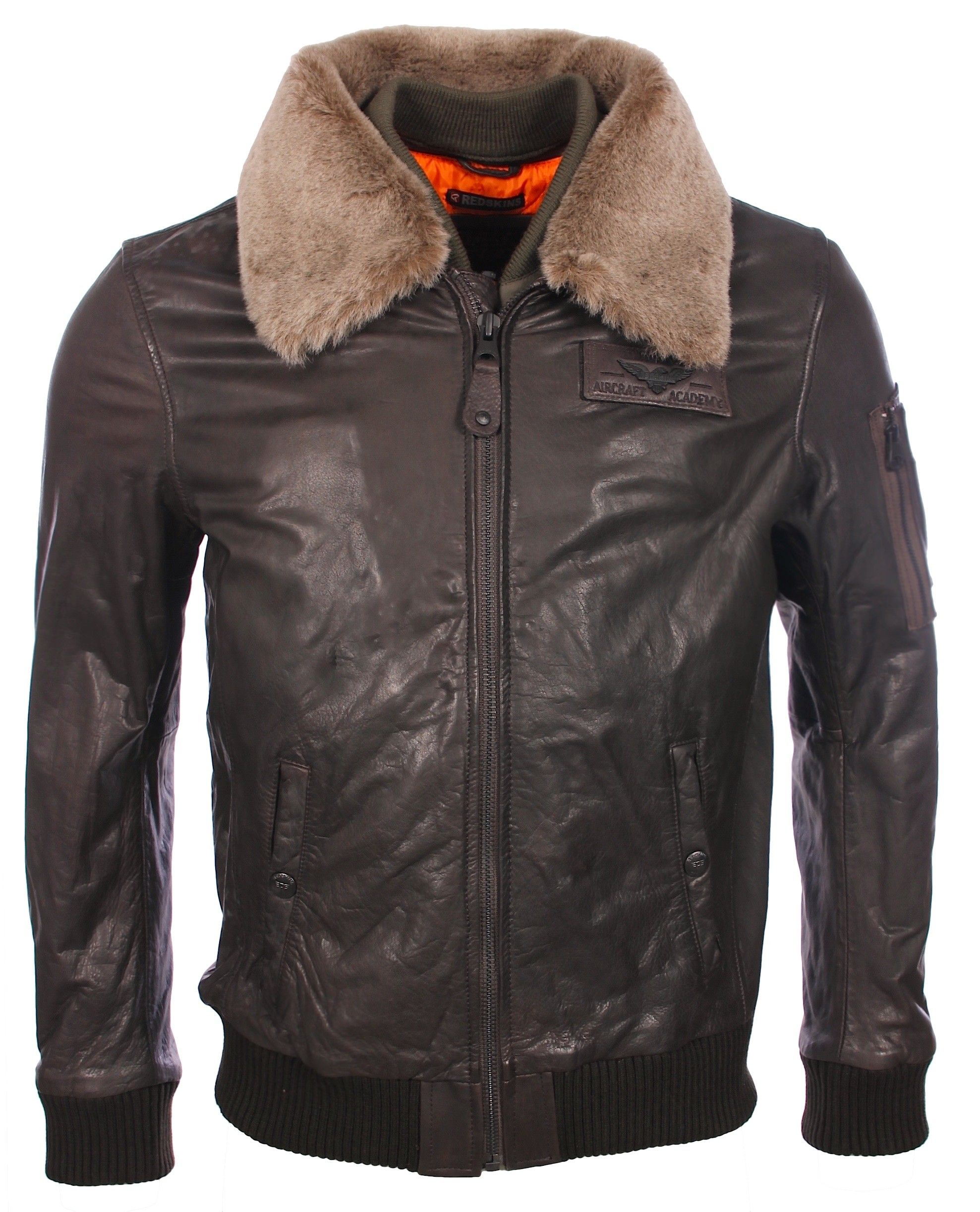 VESTE EN CUIR MARRON REDSKINS