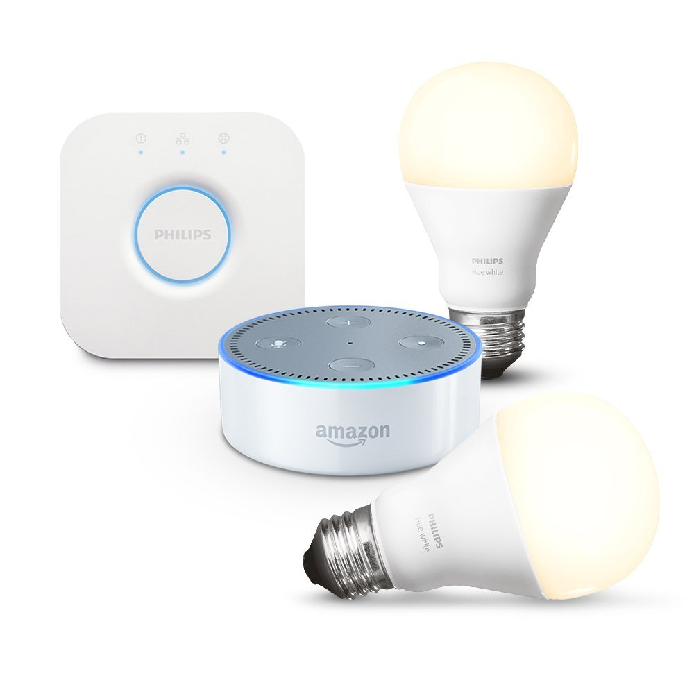 amazon echo dot 2 me g n ration blanc kit de d marrage philips hue white e27 les bons. Black Bedroom Furniture Sets. Home Design Ideas