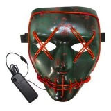 BRELONG Halloween Mask Green Full Blood Horror EL Cold Light for Make-up Party – RED