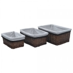 Set of Stackable Baskets 3 pcs Willow – Brown France