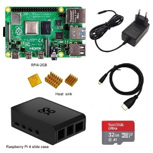 Raspberry Pi 4 Kit Raspberry Pi 4 Model B PI 4B 2GB 4GB Board+Heat Sink+Power Adapter+Case +32 64 128GB SD+HDMI Cable – 2GB