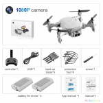 Mini RC Drone with 4K HD Camera WiFi FPV UAV Aerial Photography Helicopter Foldable LED Light Quadrocopter Quality Toy AOSST – 1080P Gray 2B Box