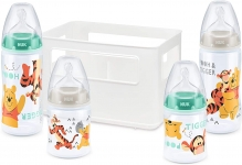 NUK Set Biberons First Choice+ Winnie l'Ourson (150ml x2 et 300ml x2) avec Casier